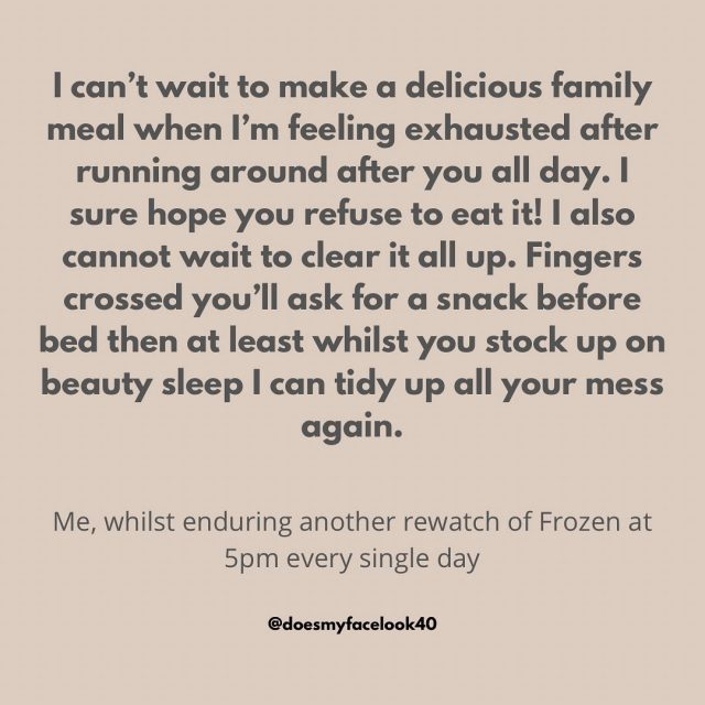 Fingers crossed every dinner time...  Original meme from @sparklesandskidmarks and adapted by me. Hilarious fun. I think memes are powering me through this, not agonising over the food shop or deciding what nutritious meal you need.   #doesmyfacelook40 #mentalhealthsupport #headspace #staysane #familymeals #sotired😴 #tiredmumsclub #mumbloggeruk
